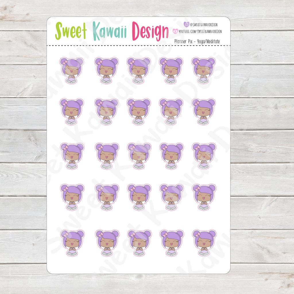 Kawaii Planner Pix Stickers - Yoga/Meditate