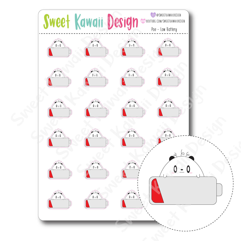 Kawaii Poe Stickers - Low Battery