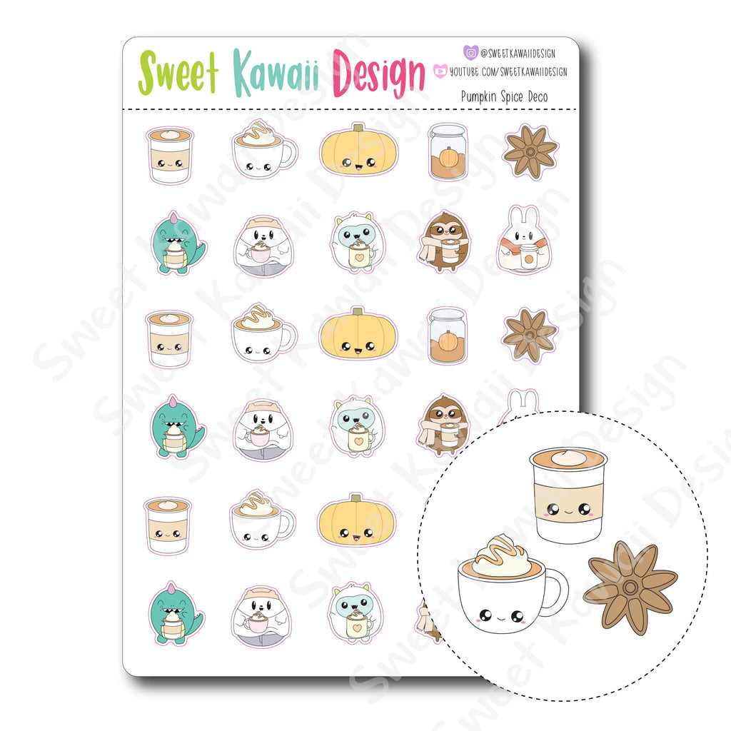 Kawaii Pumpkin Spice Deco Stickers