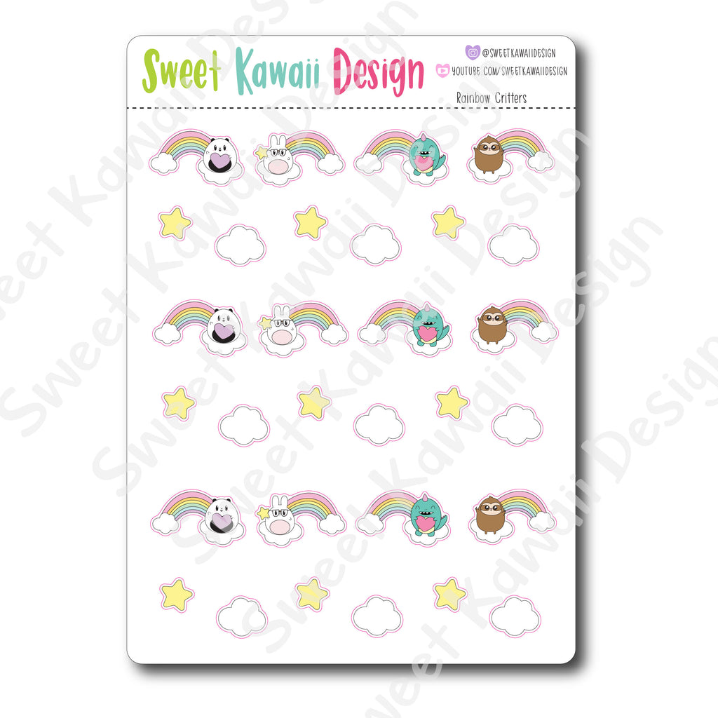 Kawaii Rainbow Critter Stickers