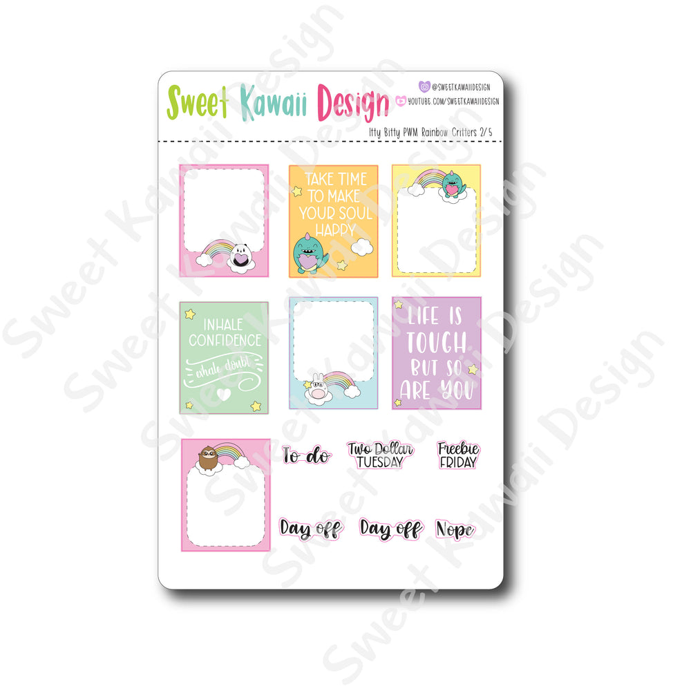 Weekly Kit  - Rainbow Critters ITTY BITTY