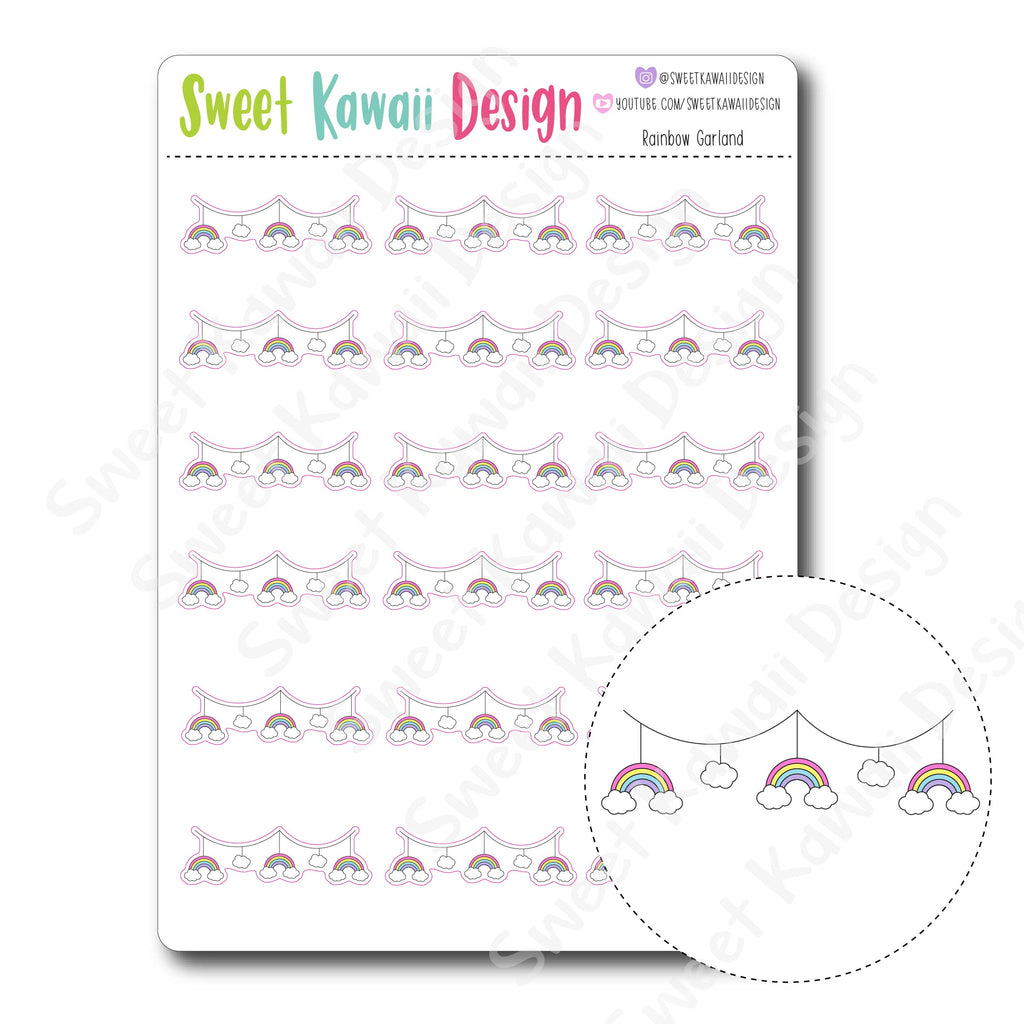 Kawaii Rainbow Garland Stickers