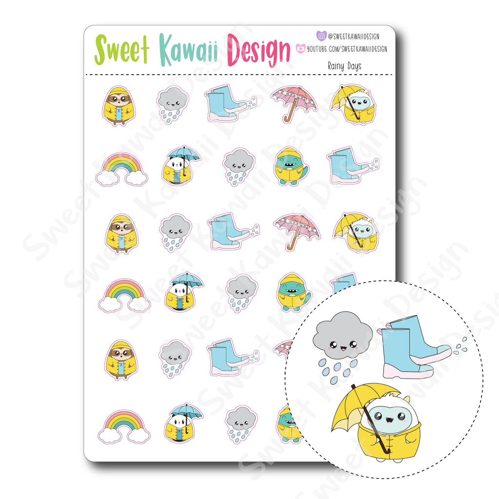 Kawaii Rainy Day Stickers