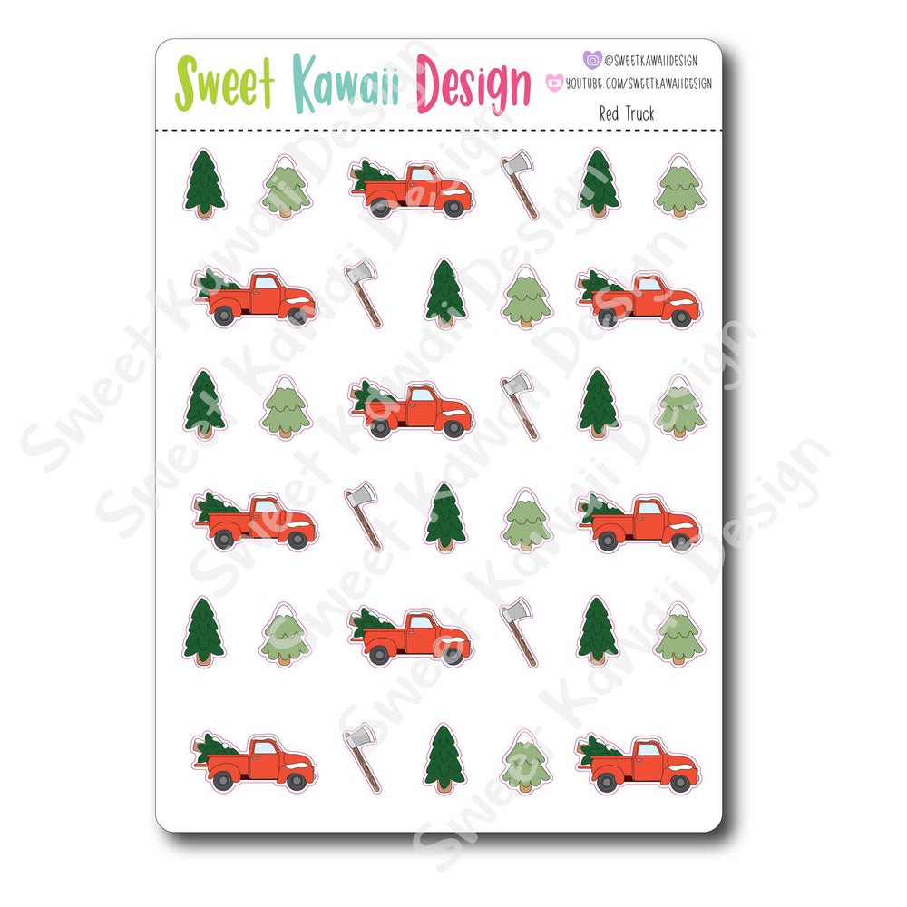 Kawaii Red Truck Stickers