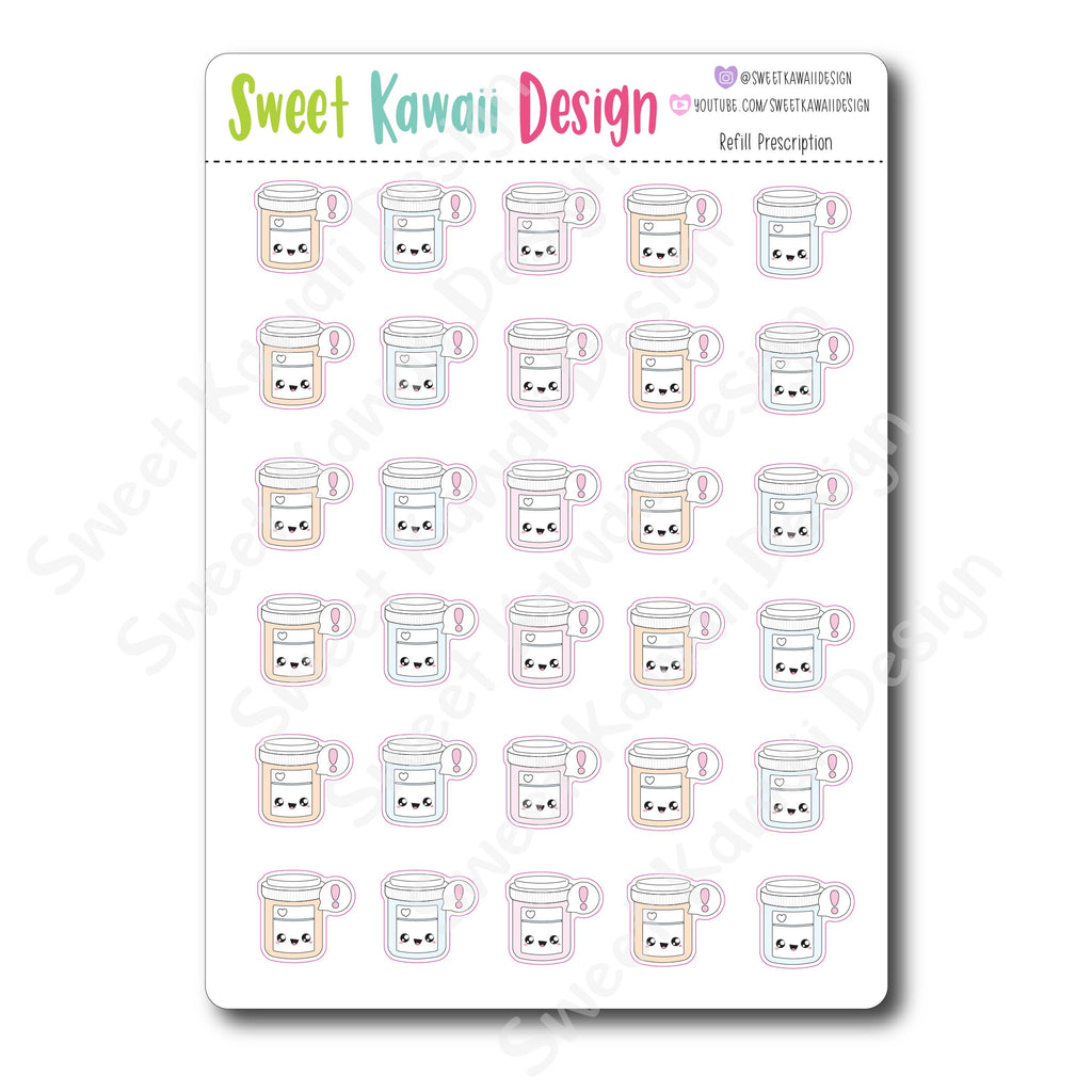 Kawaii Refill Prescription Stickers