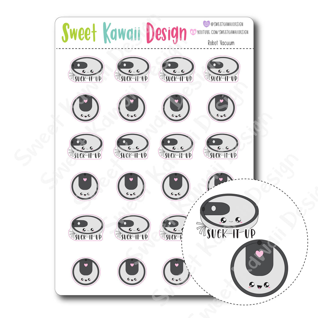 Kawaii Robot Vacuum Stickers