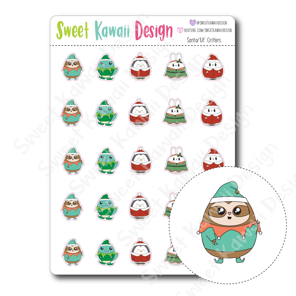 Kawaii Santa/Elf Critter Stickers