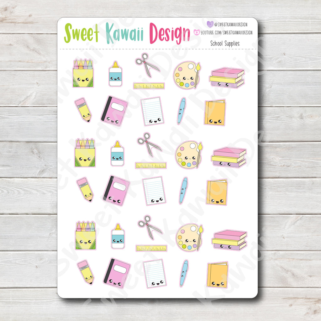 Kawaii School Supplies Stickers