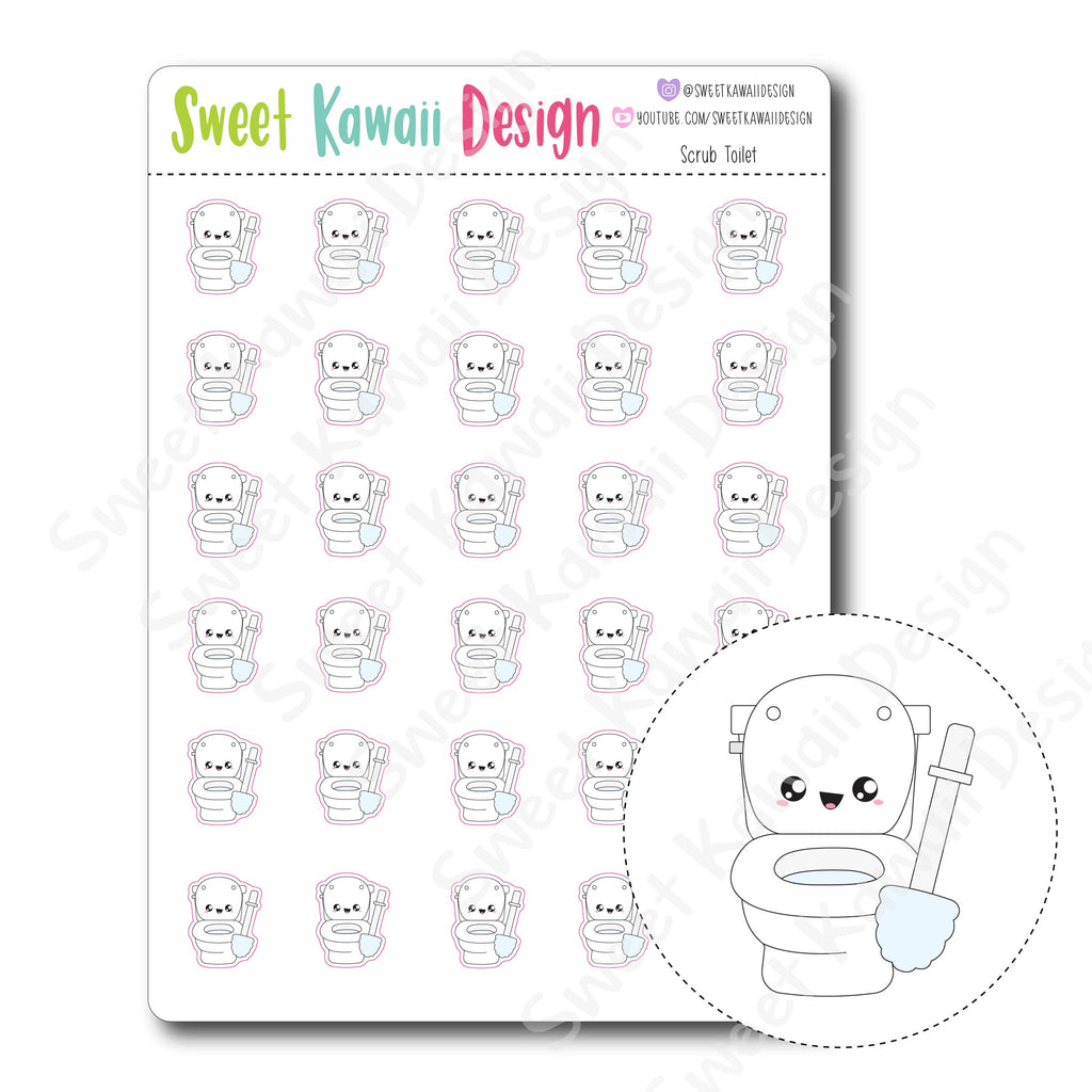 Kawaii Scrub Toilet Stickers