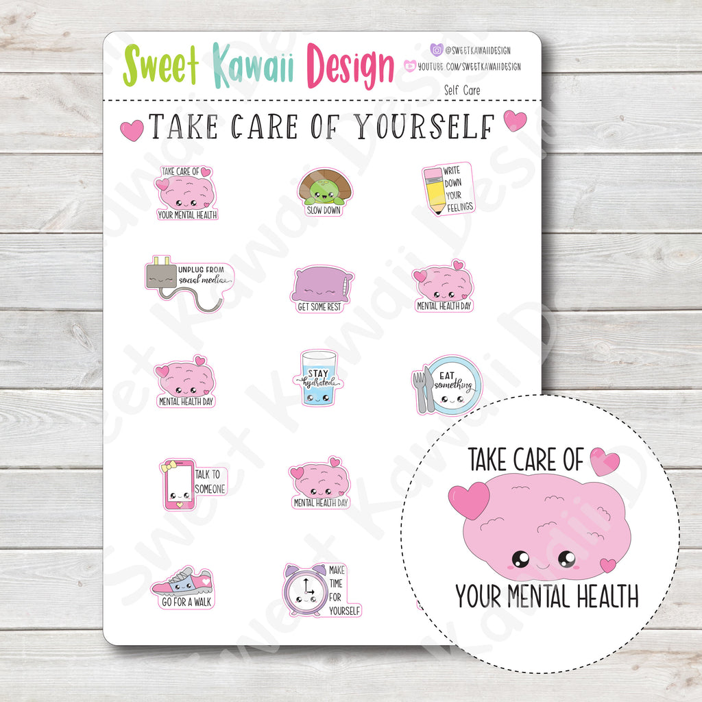 Kawaii Self Care Stickers