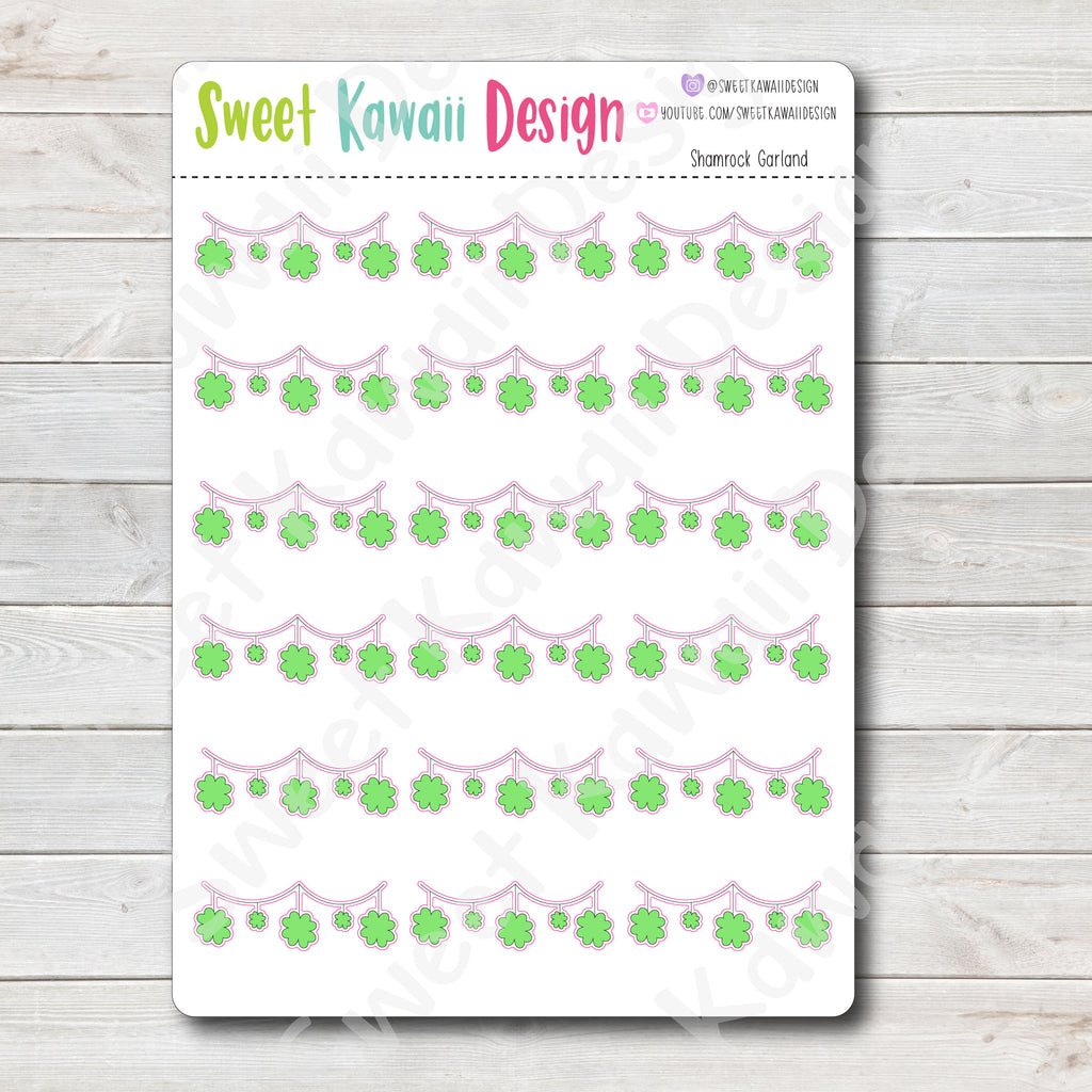 Kawaii Shamrock Garland Stickers