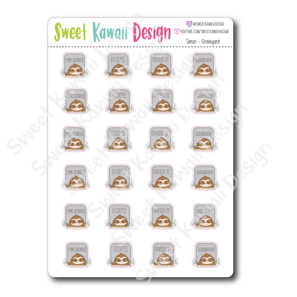 Kawaii Simon Stickers - Graveyard