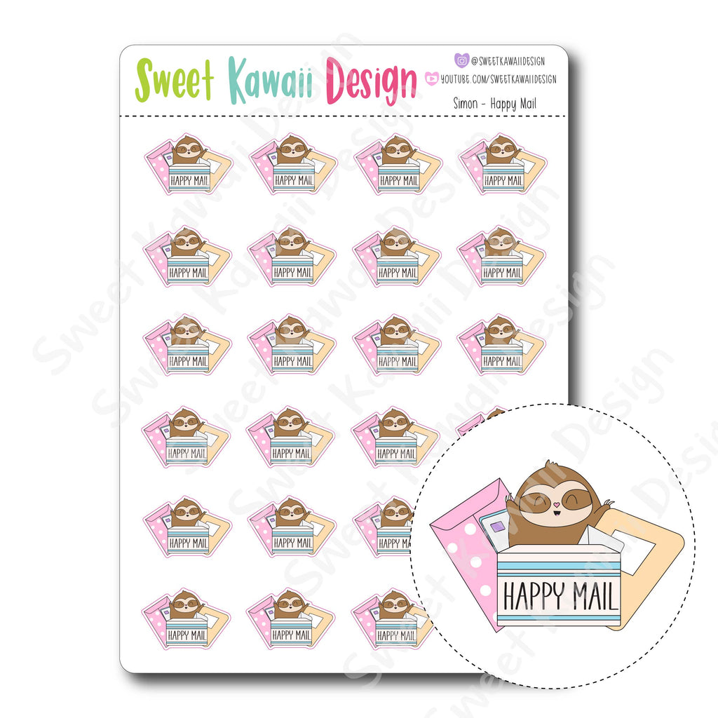 Kawaii Simon Stickers - Happy Mail