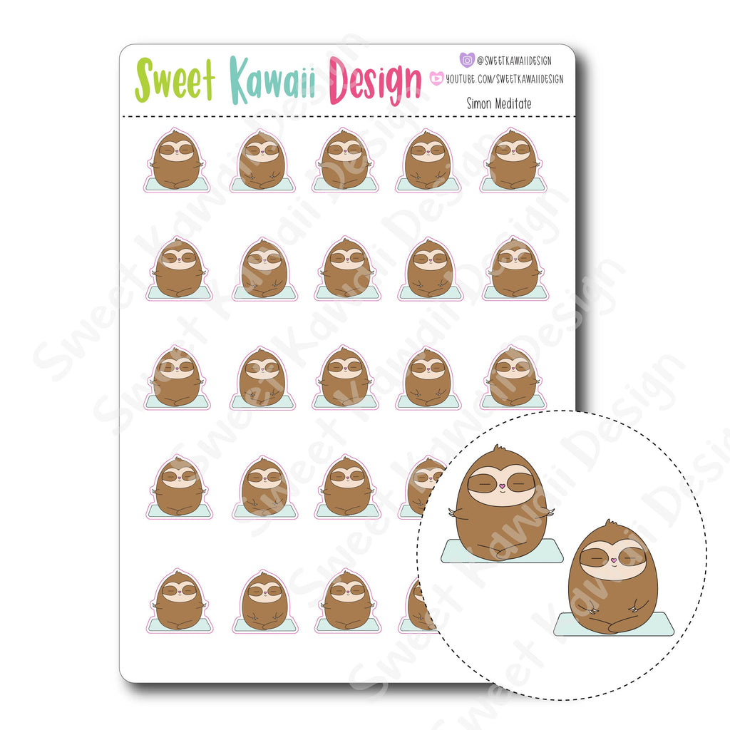 Kawaii Simon Stickers - Meditate