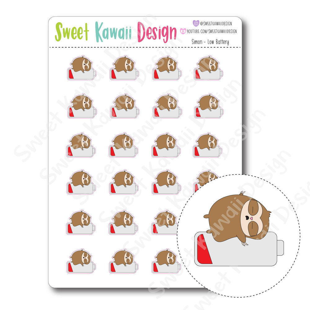 Kawaii Simon Stickers - Low Battery