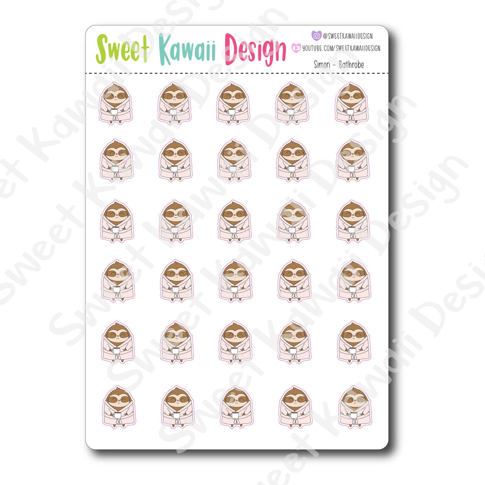 Kawaii Simon Bathrobe Stickers