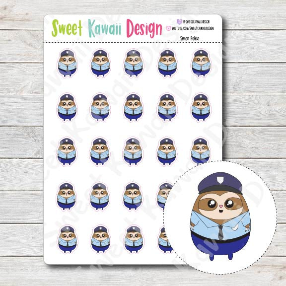 Kawaii Simon Police Stickers