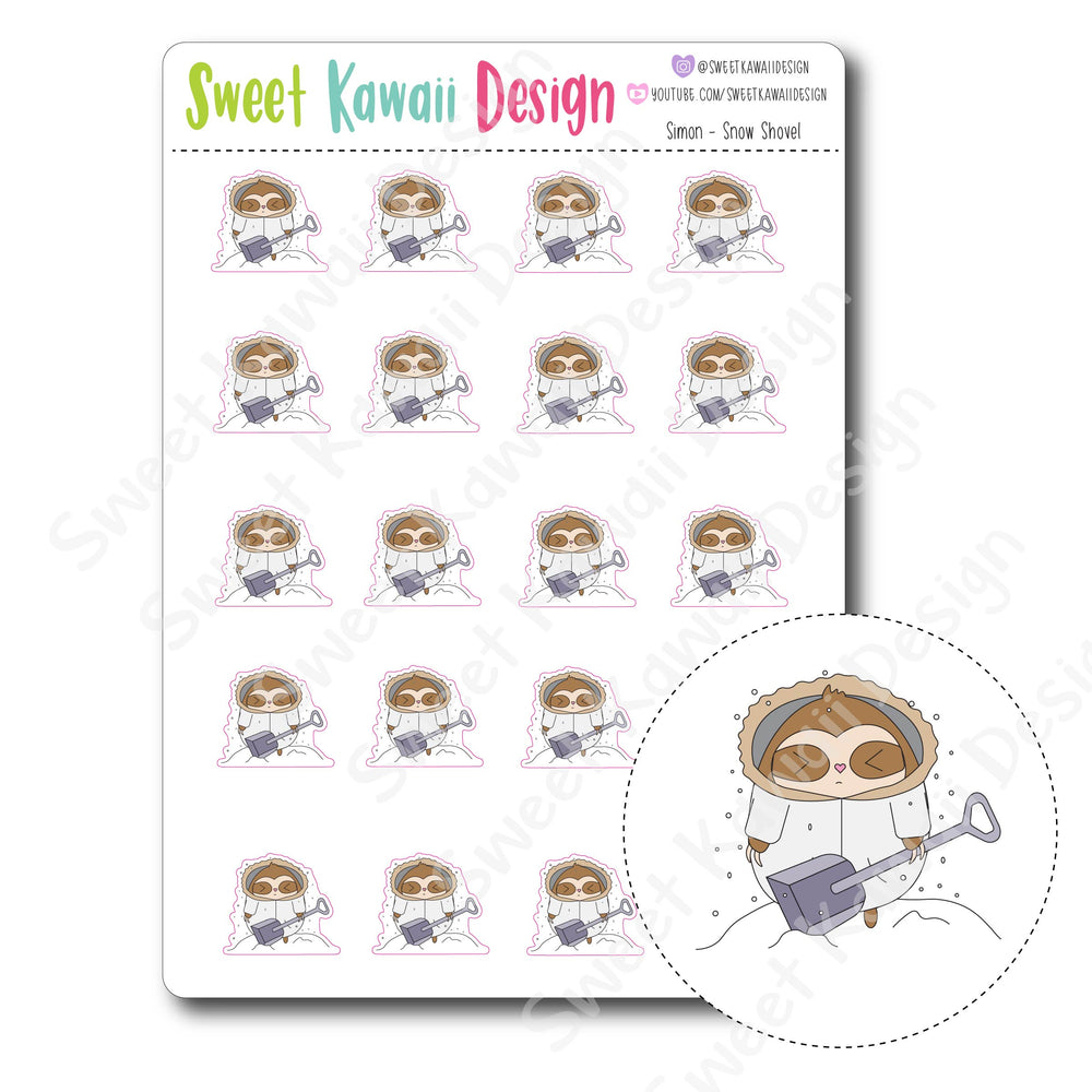 Kawaii Simon Stickers - Snow Shovel