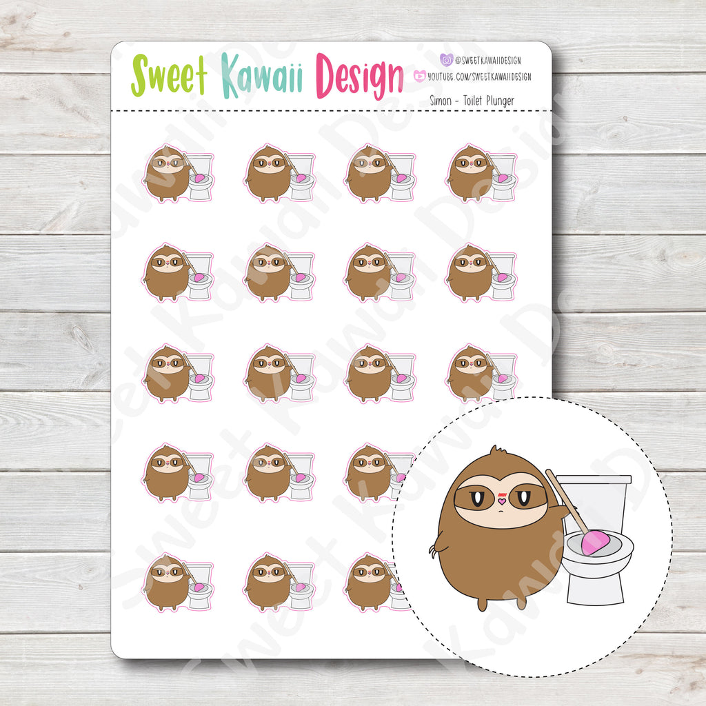 Kawaii Simon Stickers - Toilet Plunger