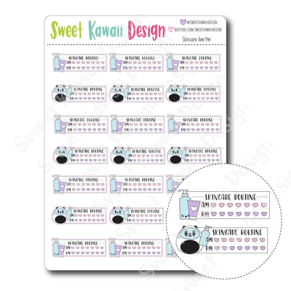 Kawaii Skincare AM/PM Stickers
