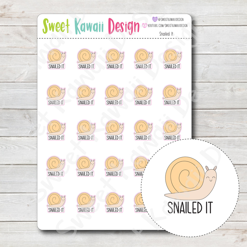 Kawaii Snailed It Stickers