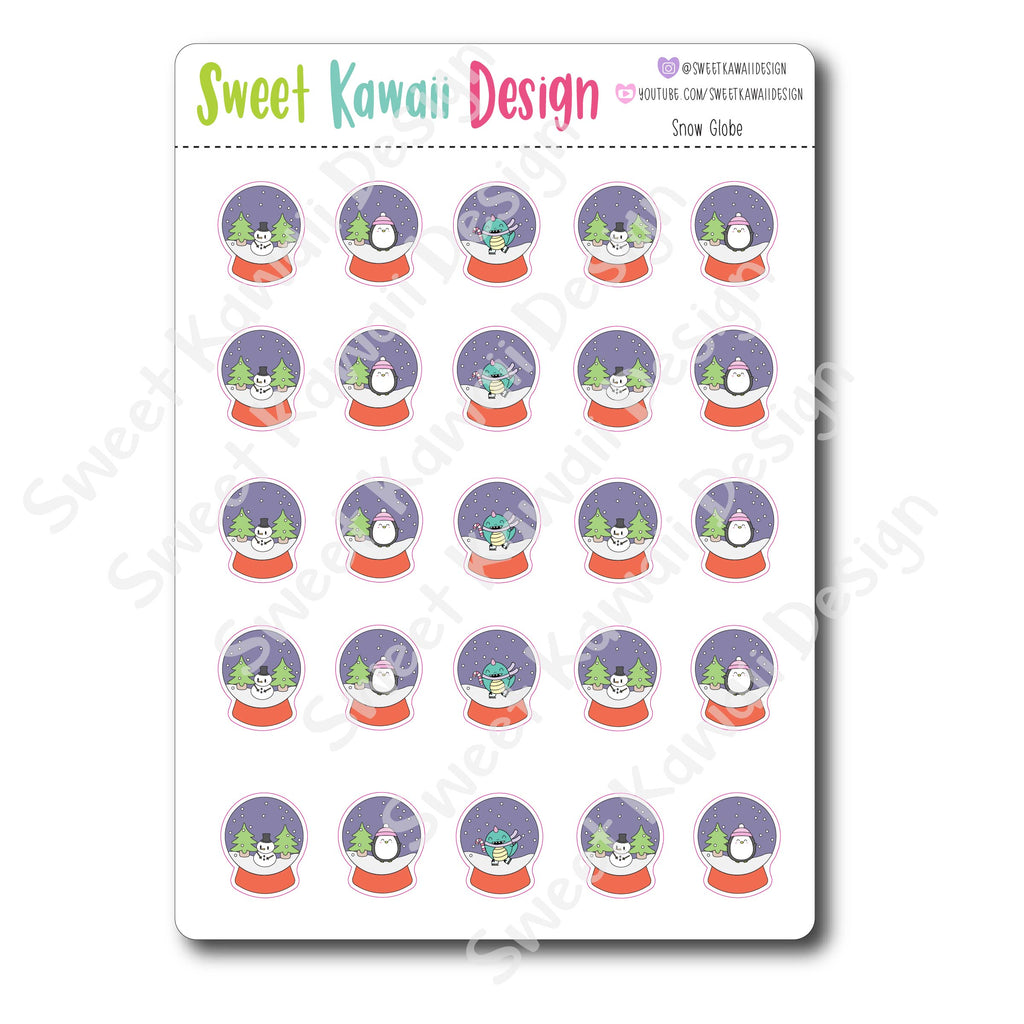 Kawaii Snow Globe Stickers