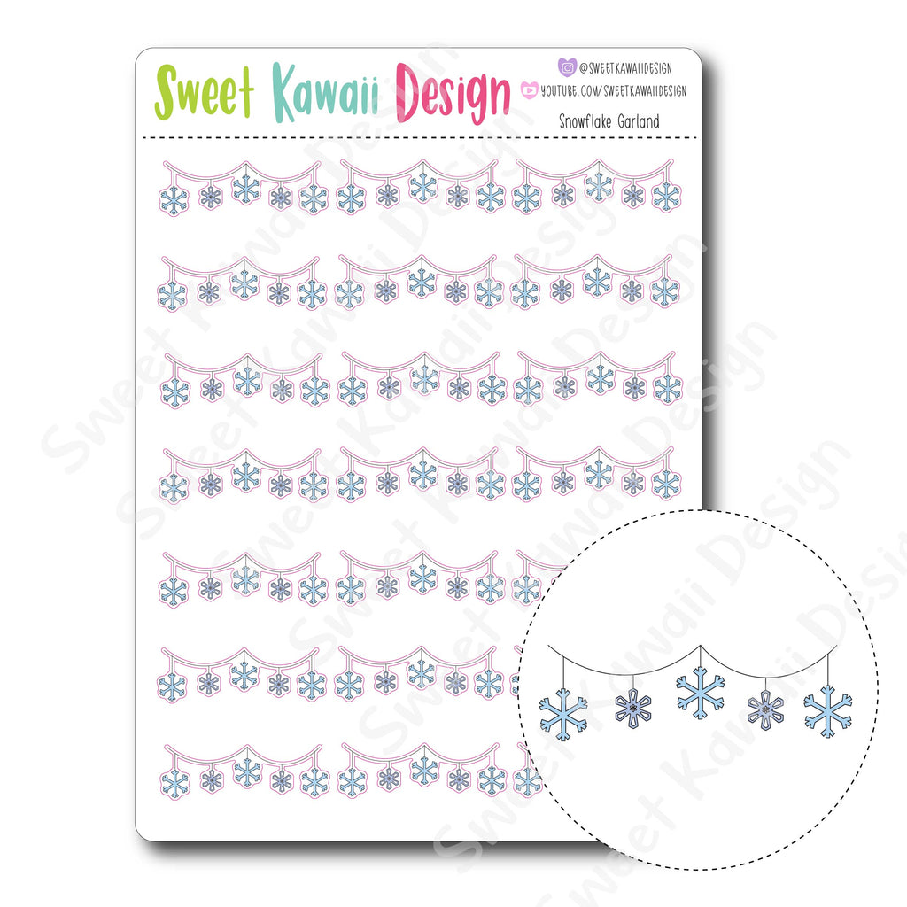 Kawaii Snowflake Garland Stickers