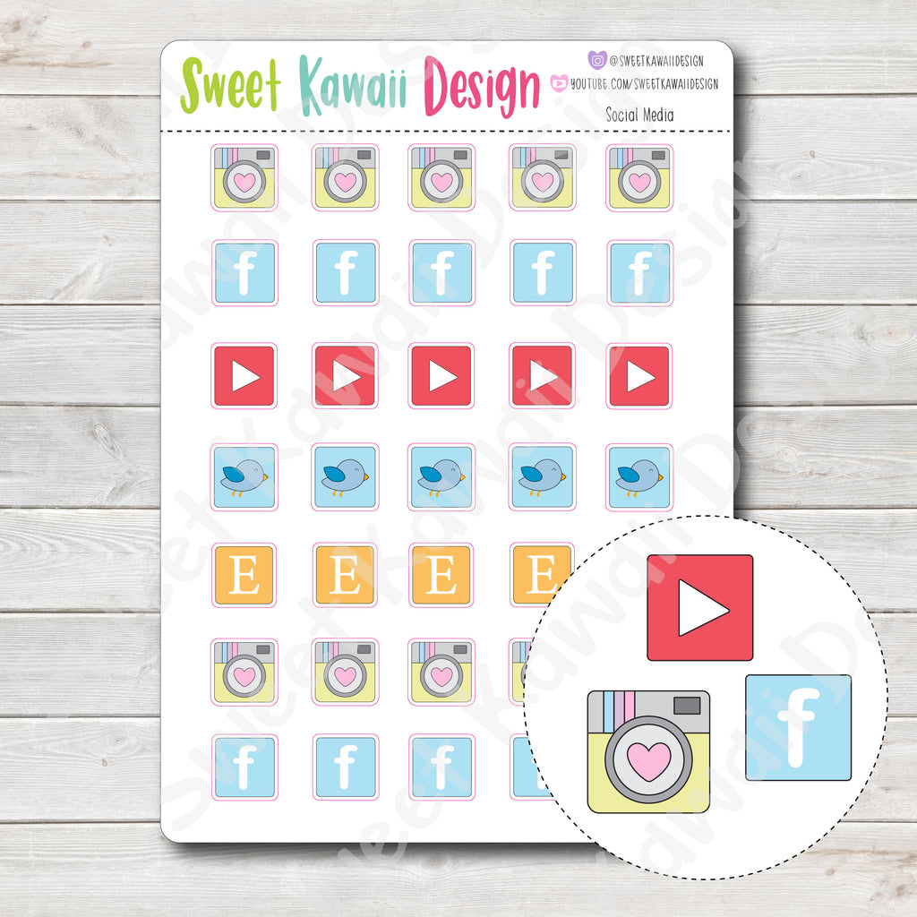 Kawaii Social Media Stickers