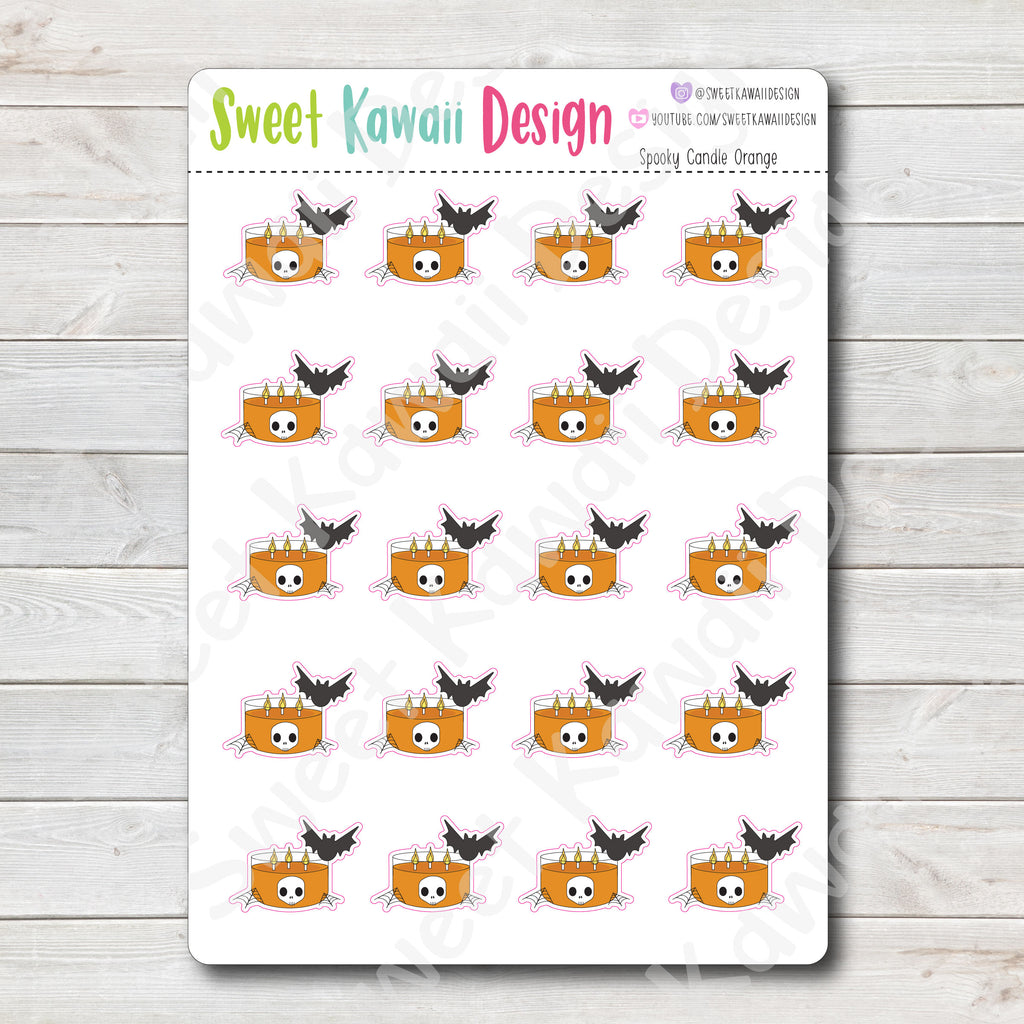 Kawaii Spooky Candle Stickers - Color Options Available