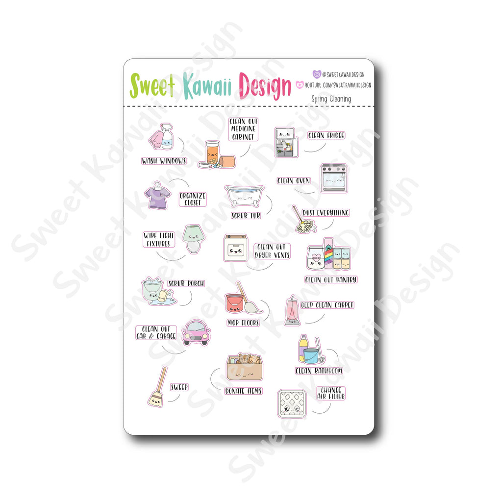 Kawaii Spring Cleaning Stickers