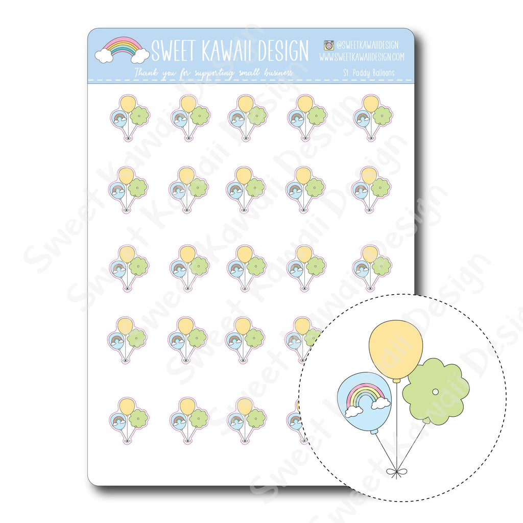 Kawaii St. Paddy Balloon Stickers