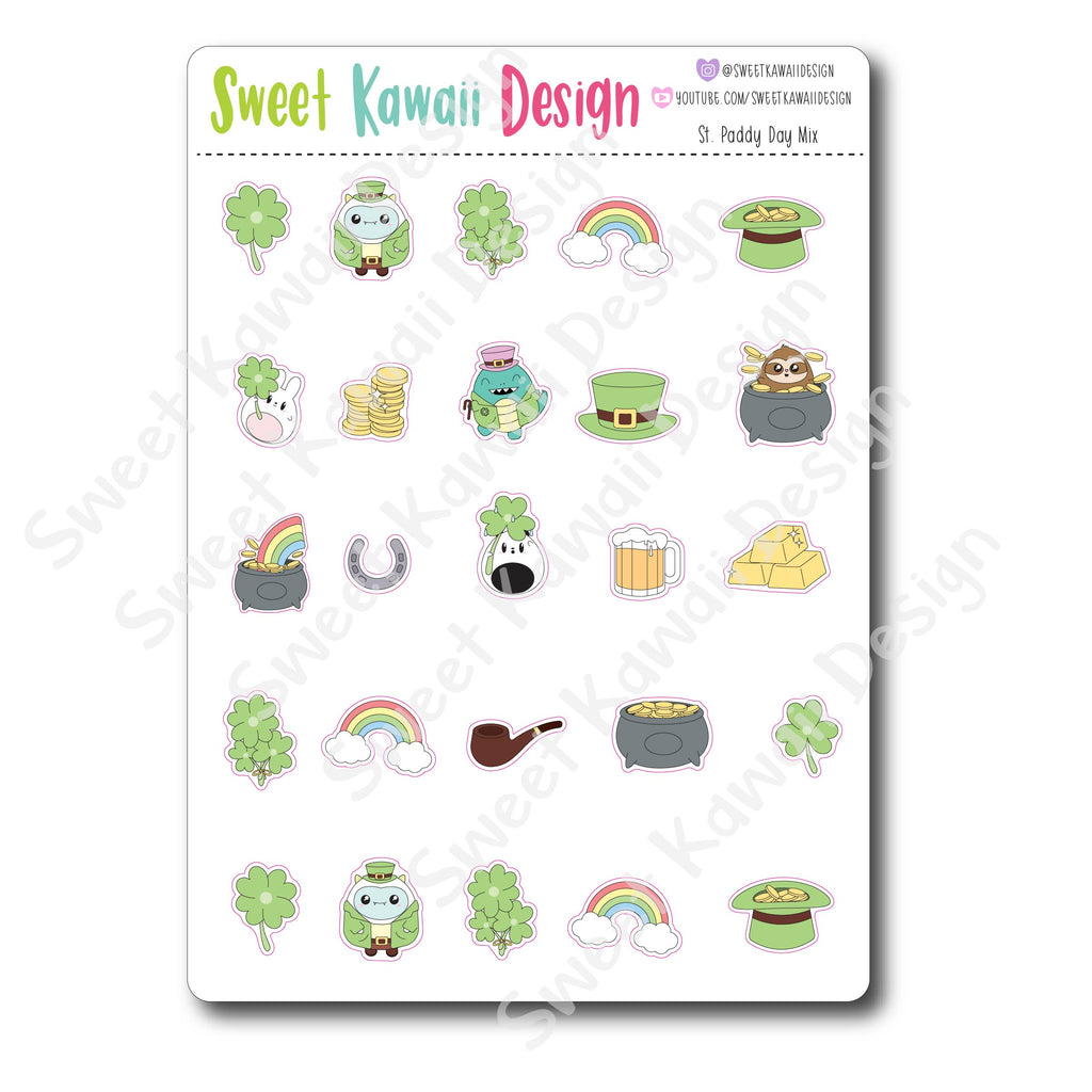 Kawaii St. Patrick's Day Stickers - MIX