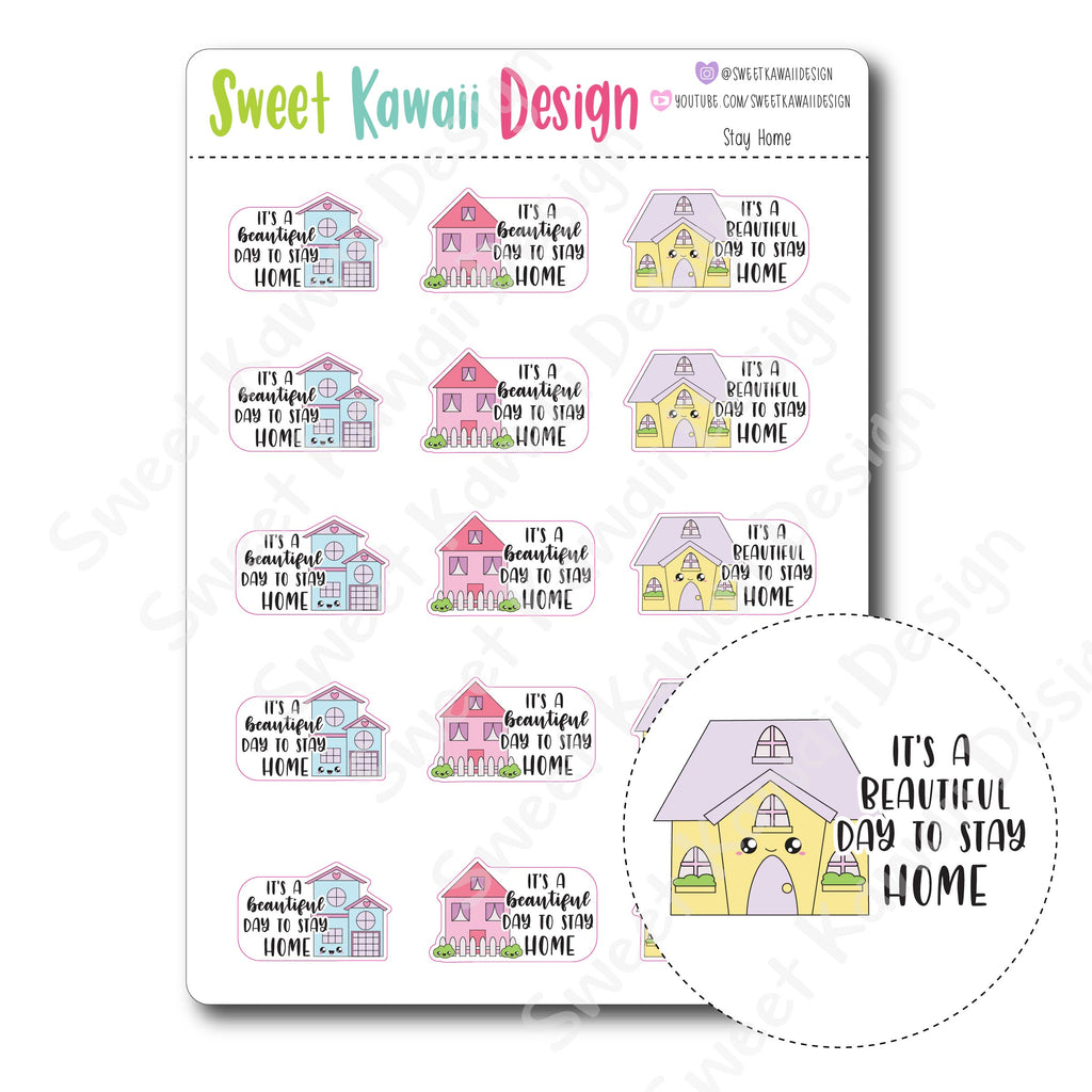 Kawaii Stay Home Stickers