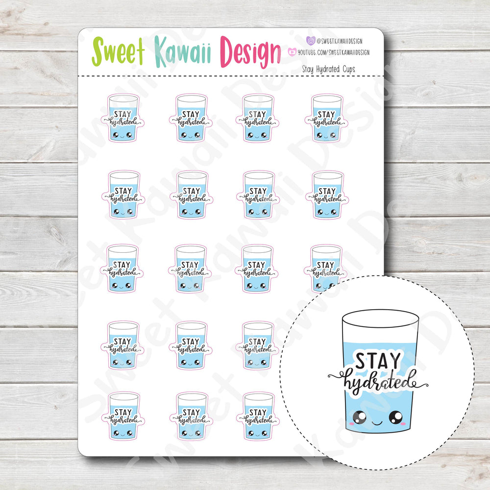 Kawaii Stay Hydrated Cup Stickers