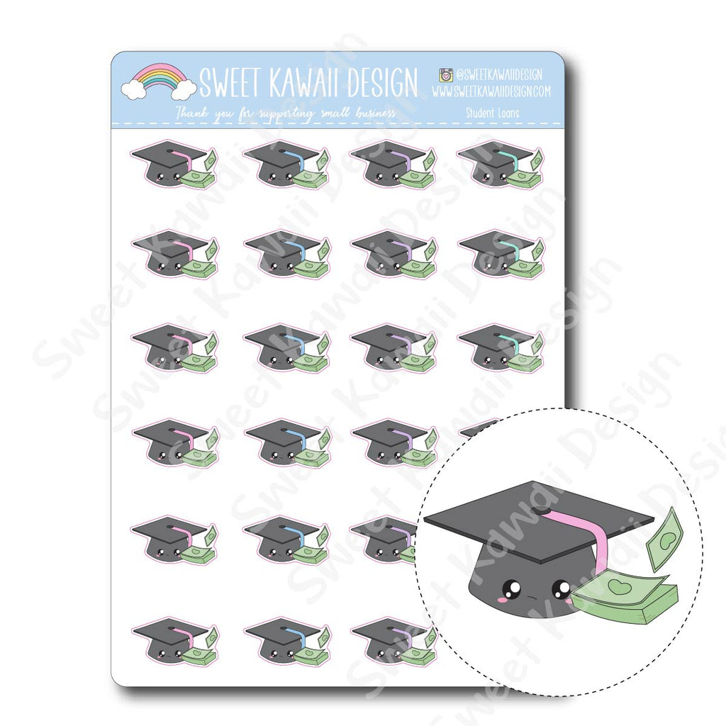 Kawaii Student Loan Stickers