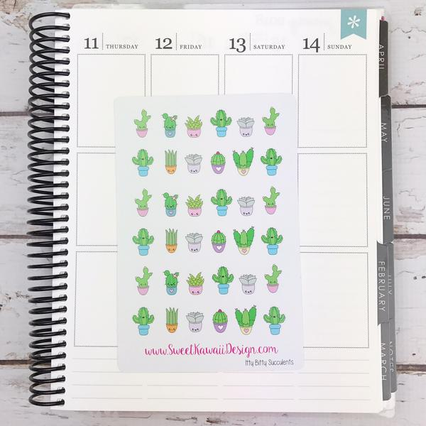 Kawaii Succulent Stickers