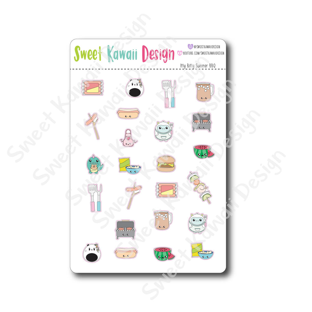 Kawaii Summer BBQ Stickers