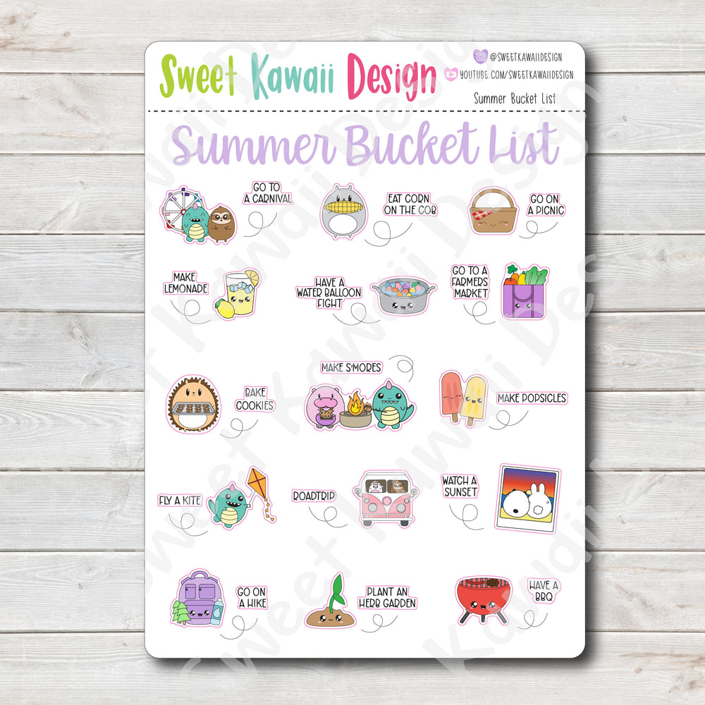 Kawaii Summer Bucket List Stickers