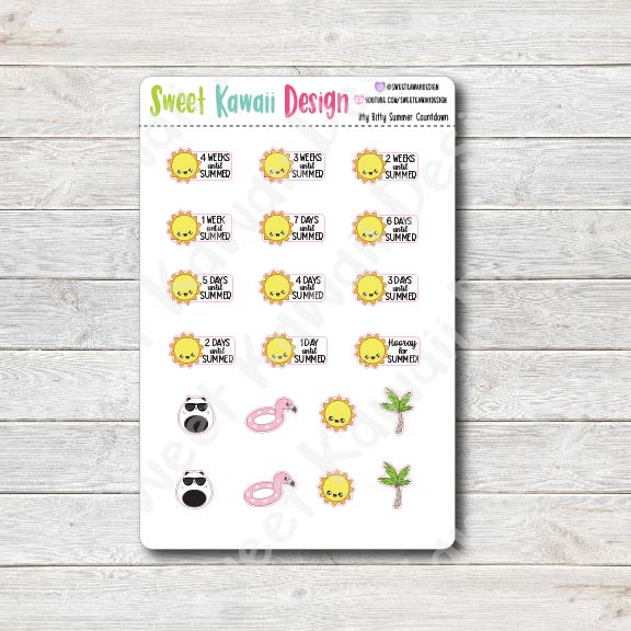 Kawaii Summer Countdown Stickers