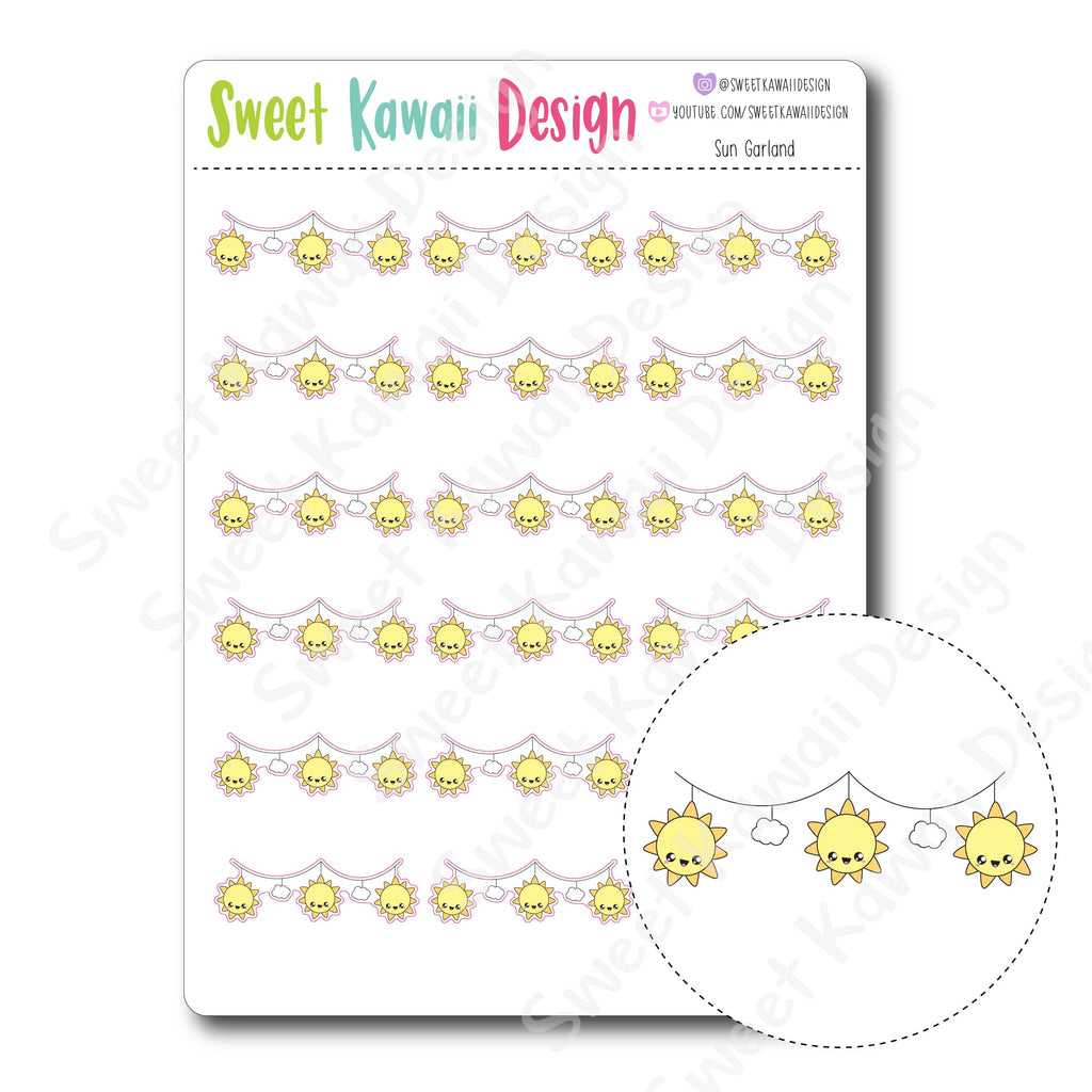 Kawaii Sun Garland Stickers