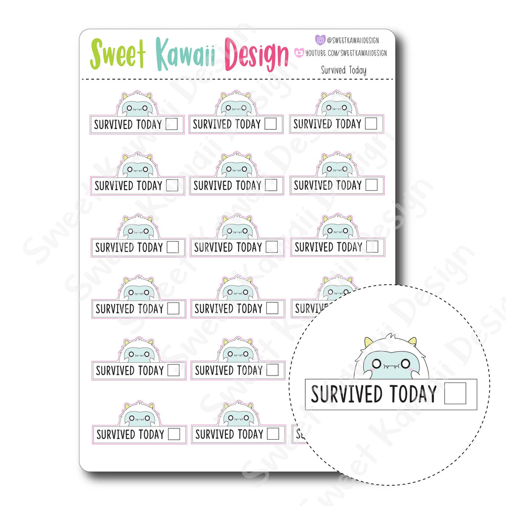 Kawaii Survived Today Stickers