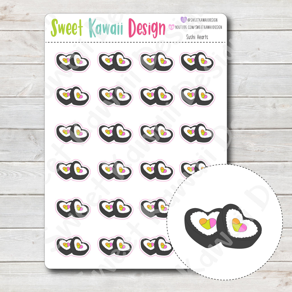 Kawaii Sushi Heart Stickers