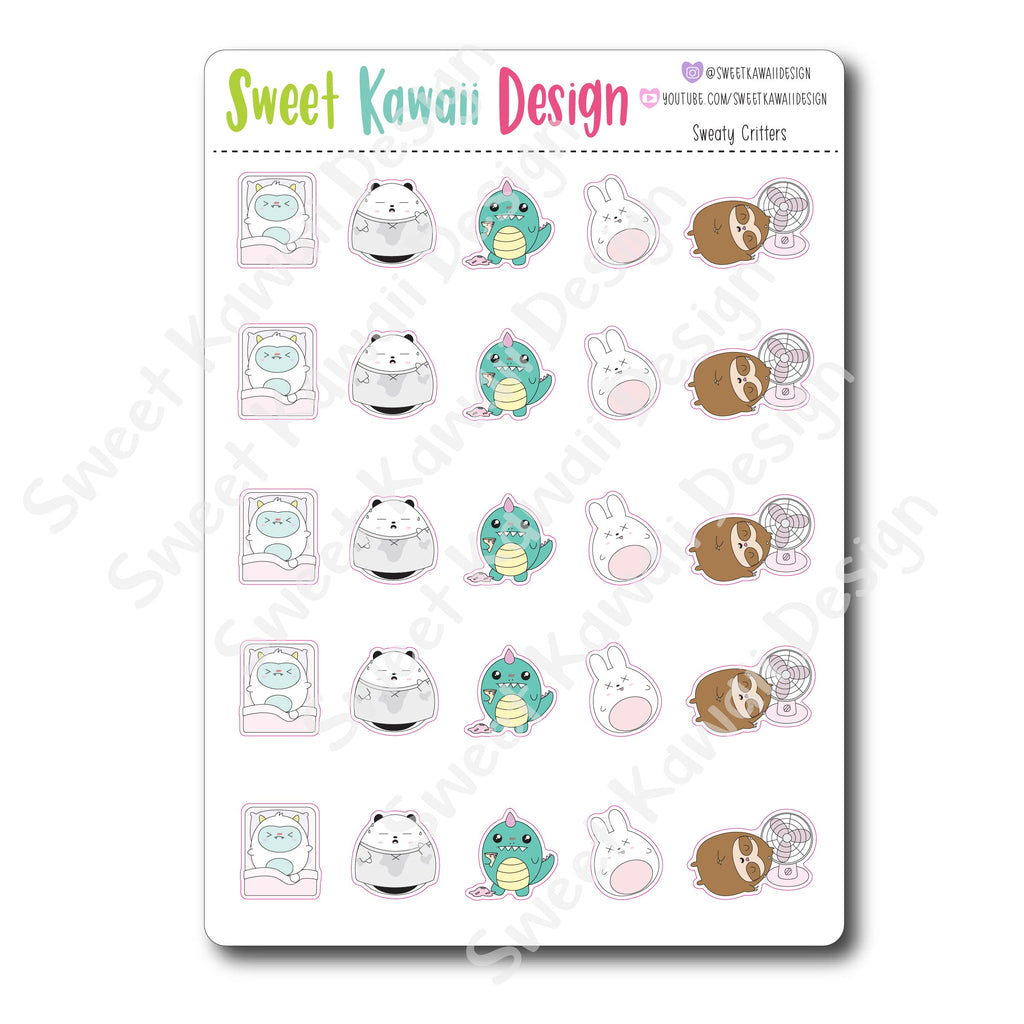 Kawaii Sweaty Critter Stickers