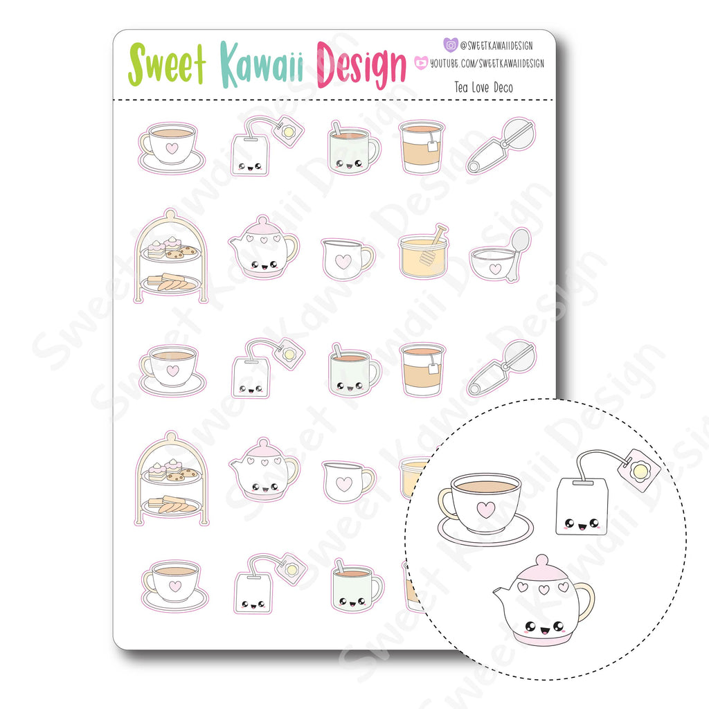 Kawaii Tea Love Deco Stickers