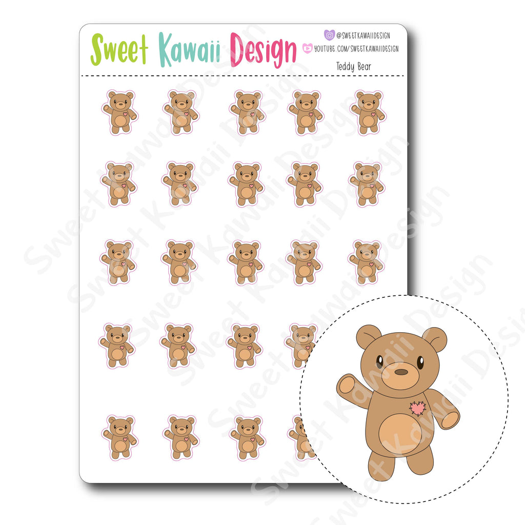 Kawaii Teddy Bear Stickers