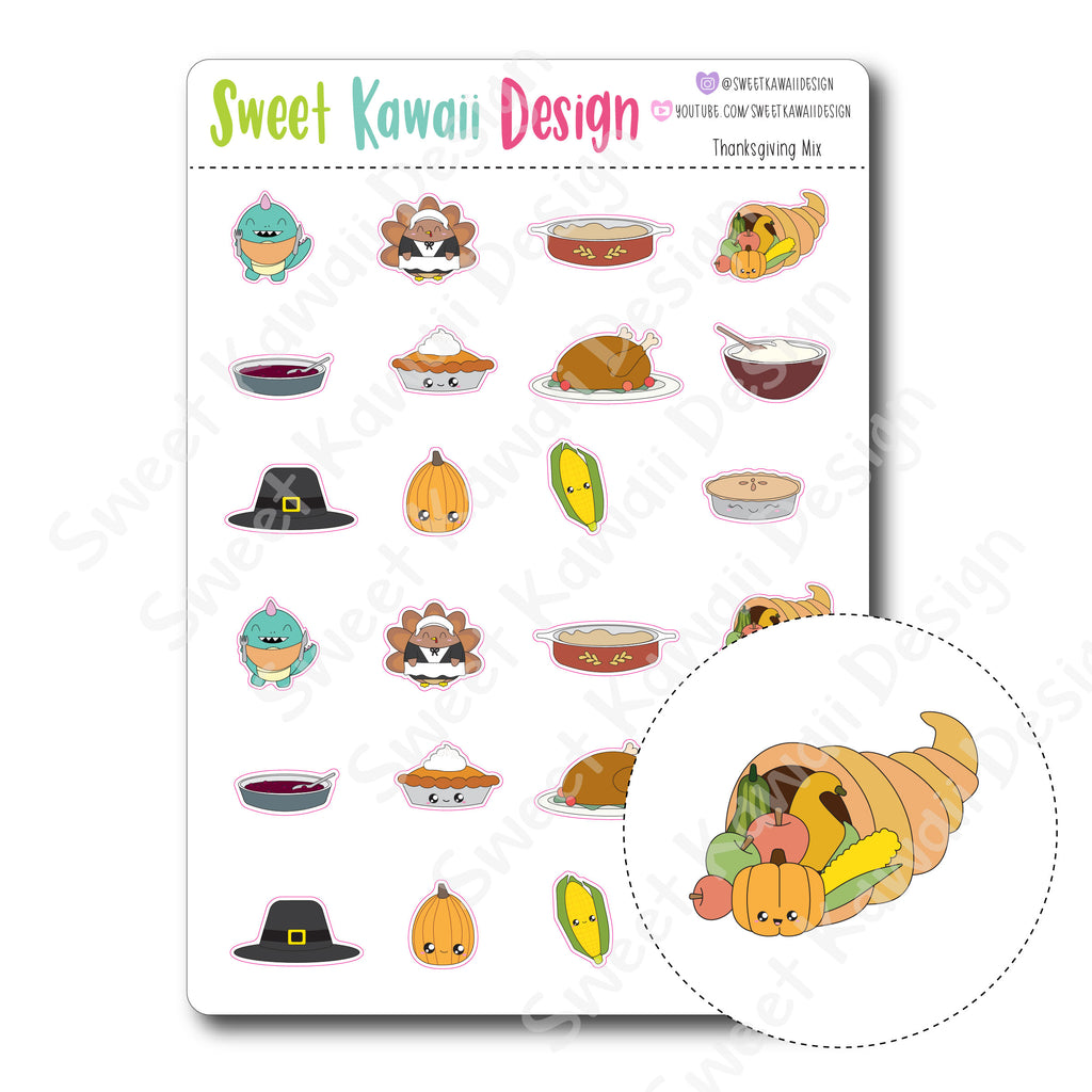 Kawaii Thanksgiving Mix Stickers
