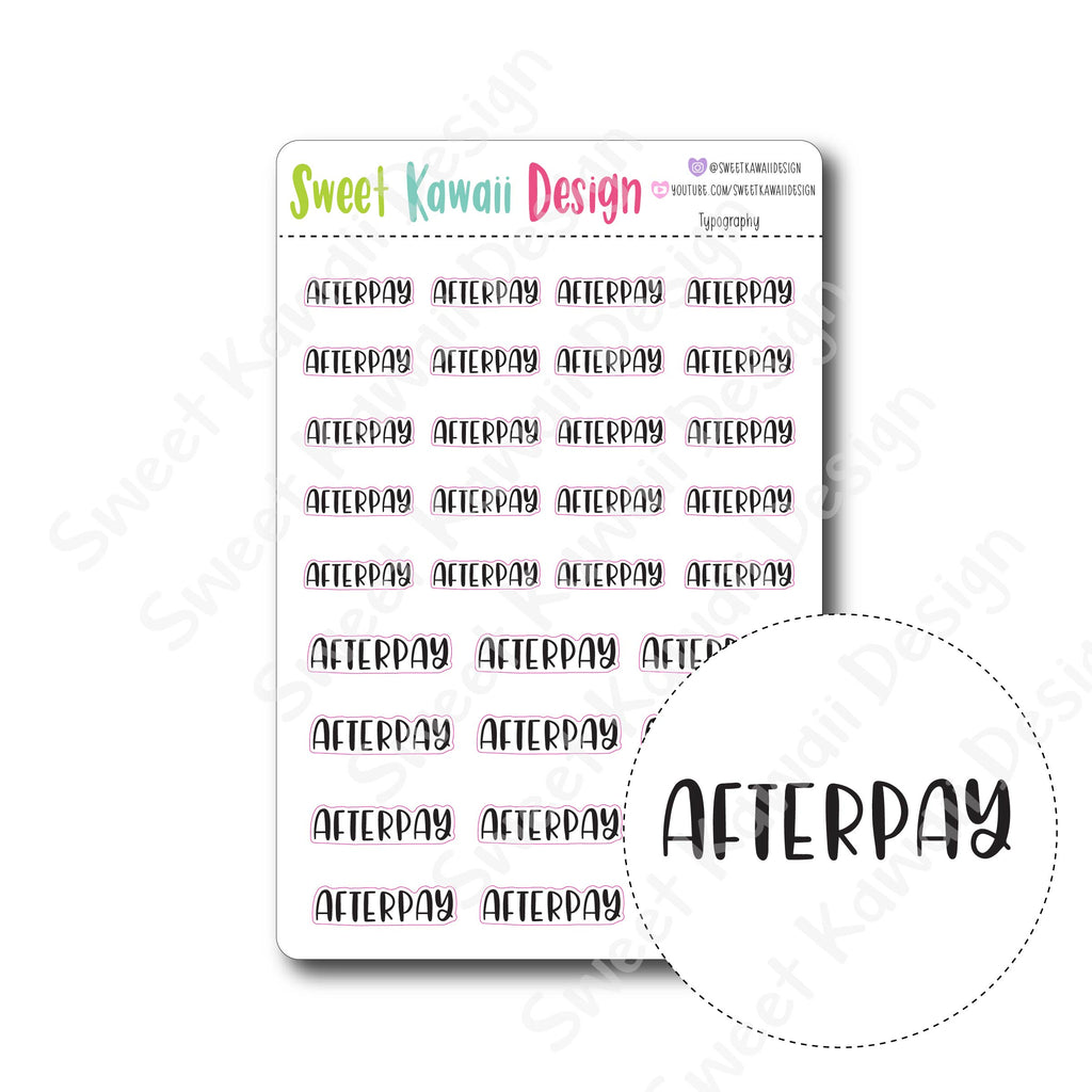 Typography Stickers - Afterpay