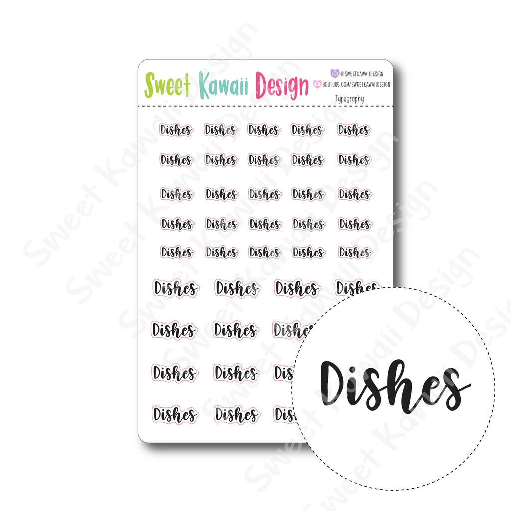 Kawaii Typography Stickers - Dishes