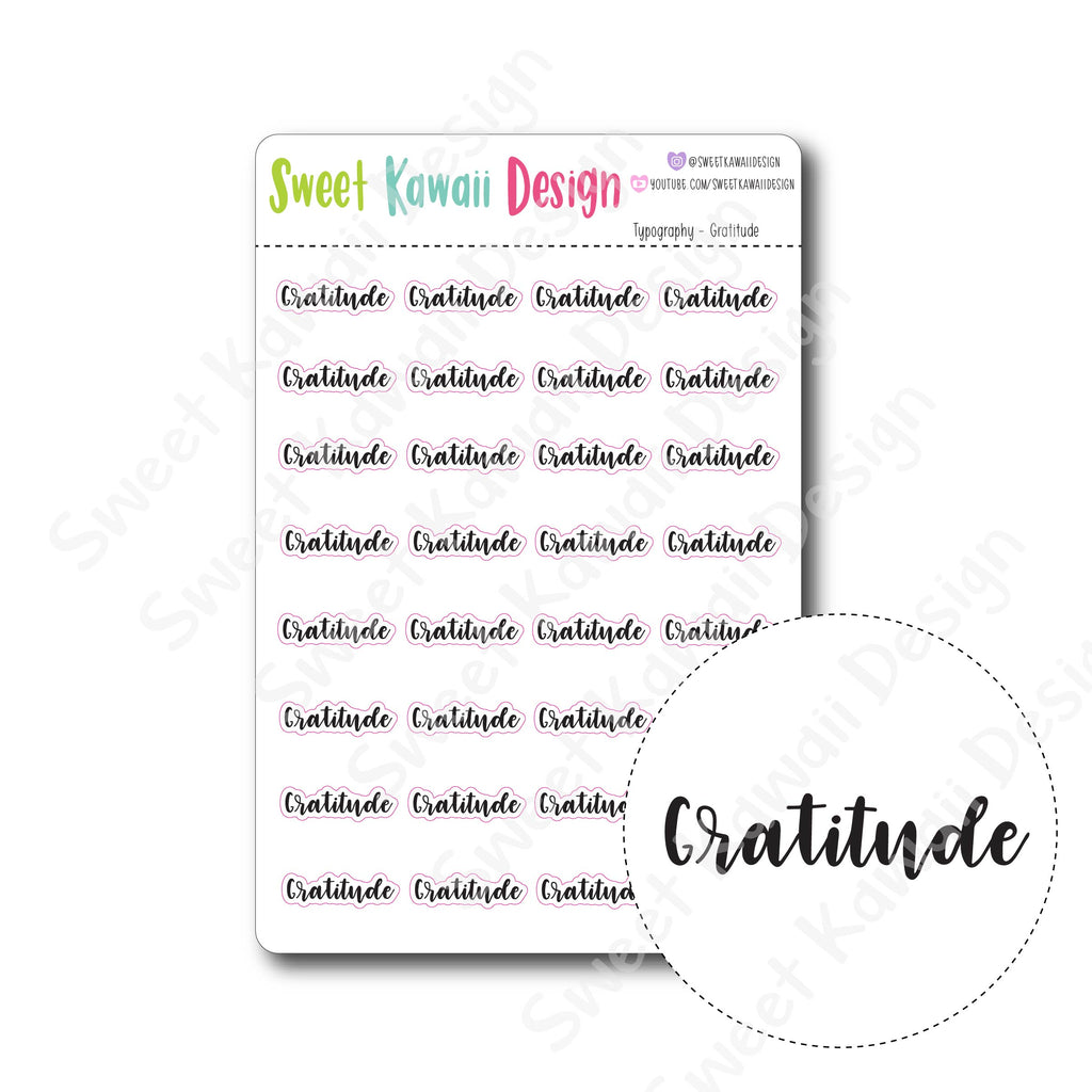 Typography Stickers - Gratitude
