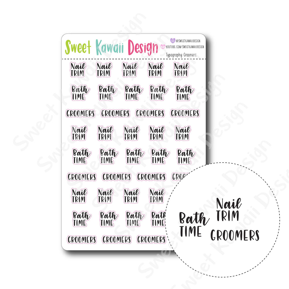 Kawaii Typography Stickers - Groomers